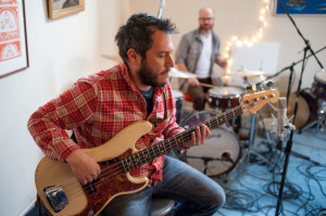 Jeremy Moses Curtis with drummer Duncan Arsenault in the background jamming at a recording session. Photo courtesy of Steven King